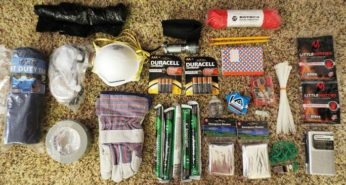 earthquake preparedness kit objects