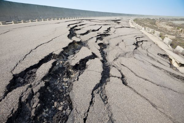 Cracked Road Because Of Earthquake