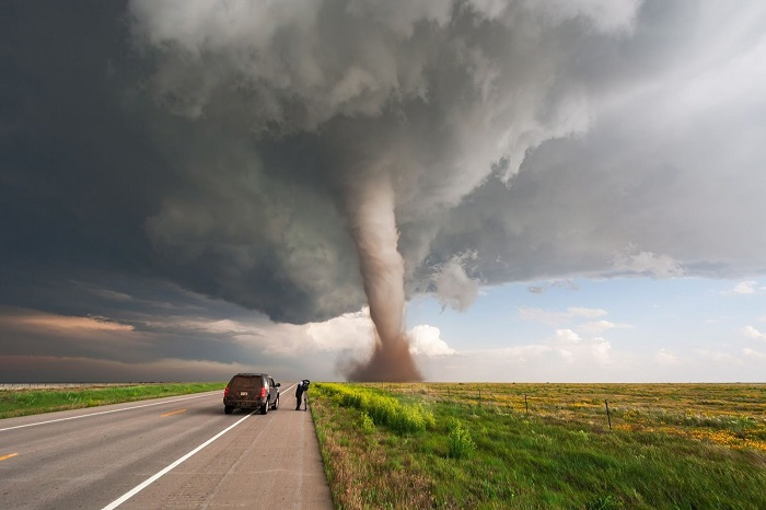 tornado on the side of the road