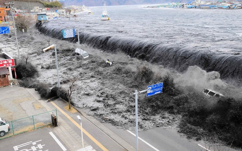 Japanese city affected by a tsunami