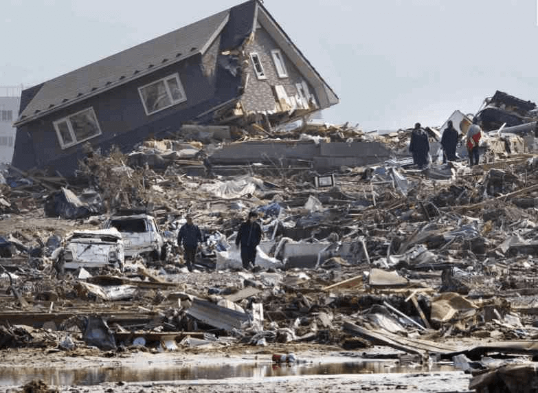 House devastated by a tsunami