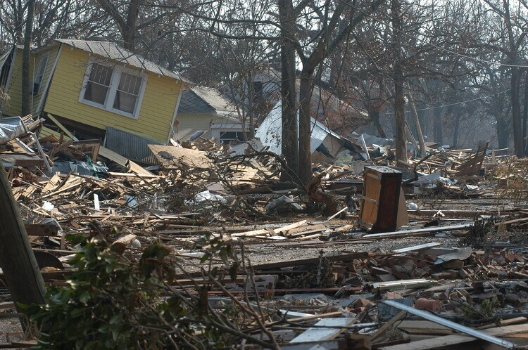 Houses destroyed by Hurricane Katrina