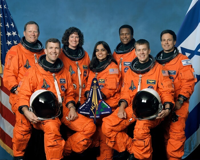 Astronauts posing before the Columbia shuttle disaster