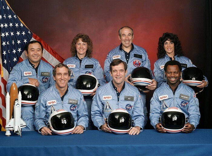 Space Shuttle Challenger astronauts and teacher