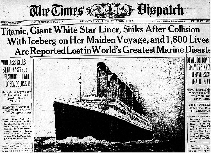 The Times Dispatching reporting what happened on the Titanic