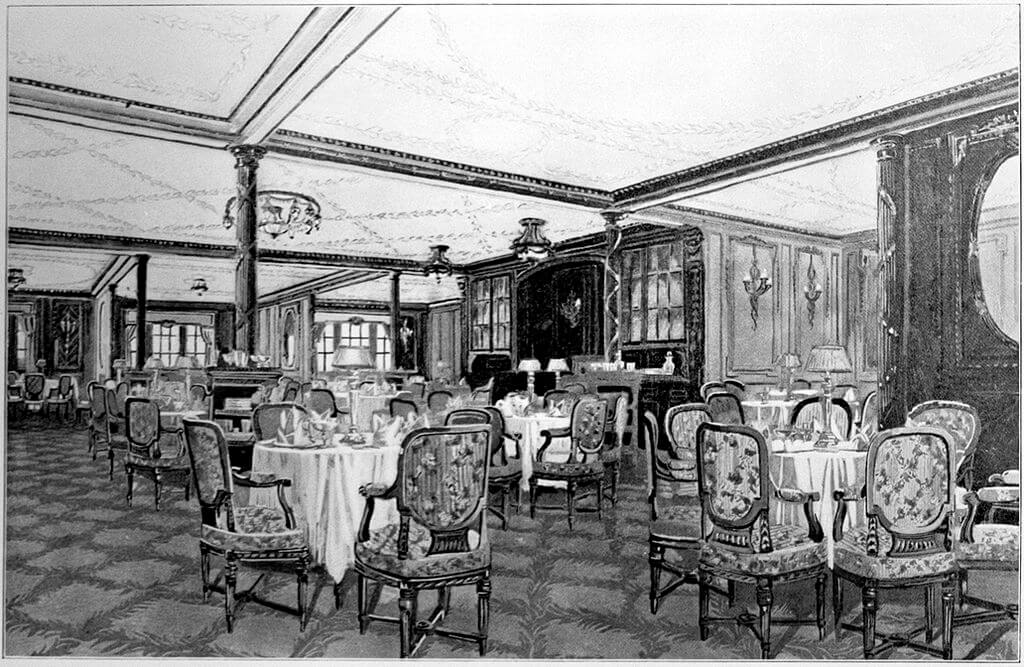 First class restaurant on the Titanic