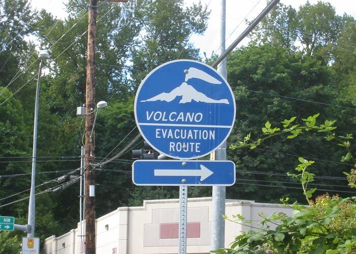 volcanic eruption evacuation sign