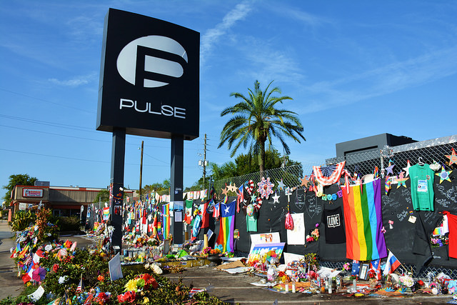Pulse nightclub memorial in the days after an active shooter killed 49 people