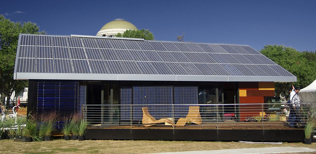 house with solar panels roof