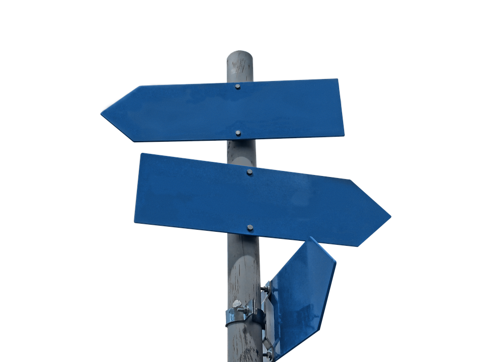 sign post with blue paints pointing in different directions