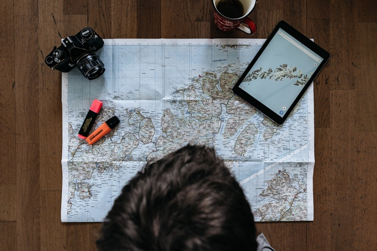 map and other travel essentials